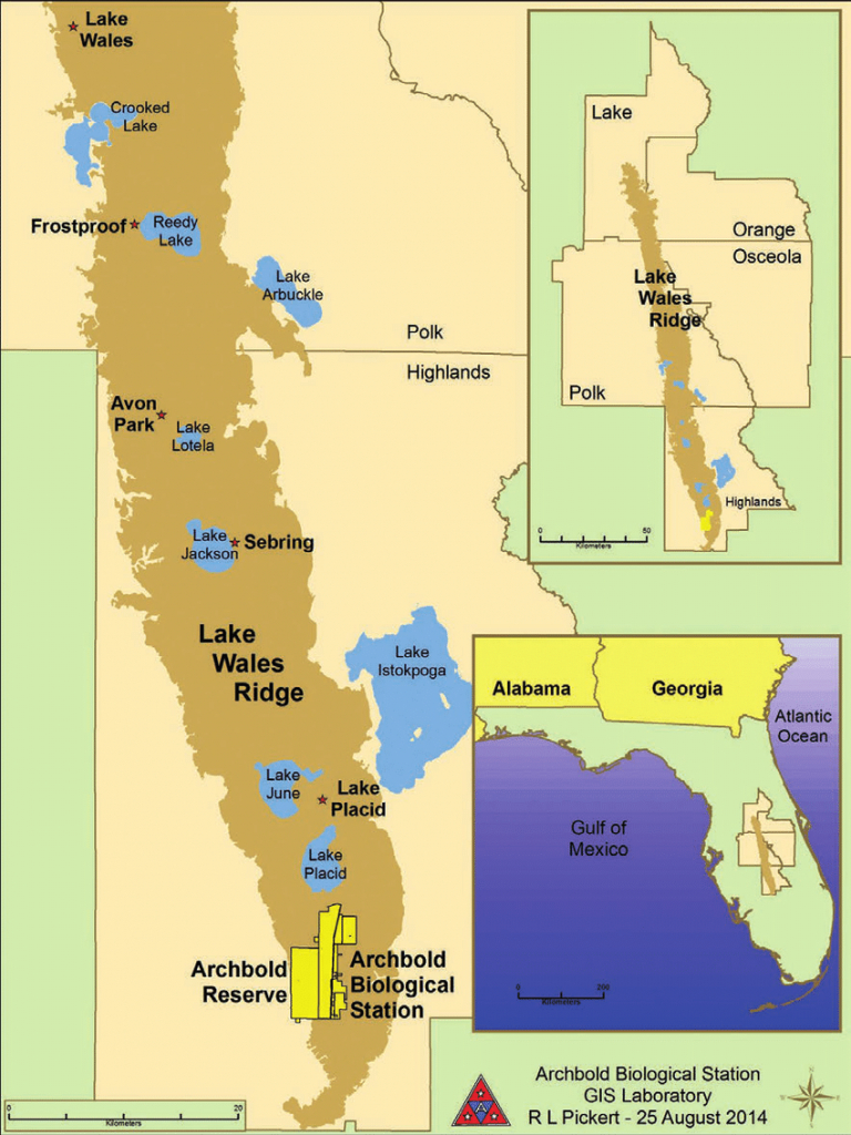 1. Location Of The Lake Wales Ridge In Florida. Source: Map Used - Lake Wales Florida Map