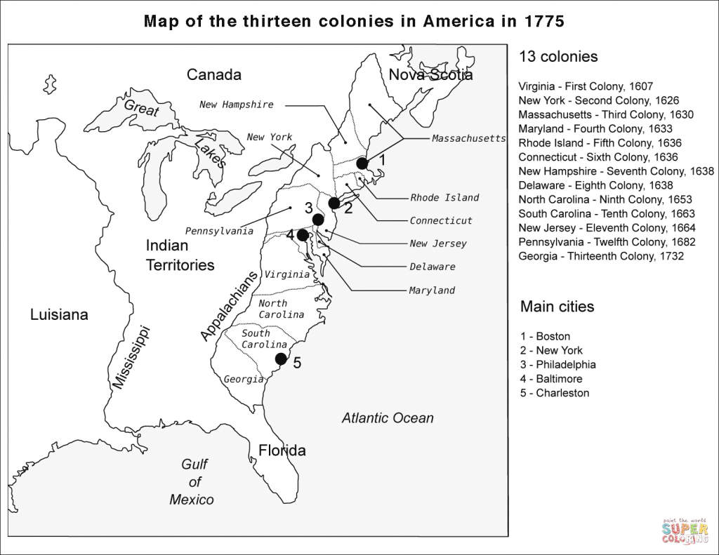 13 Colonies Map Coloring Page | Free Printable Coloring Pages - Map Of The Thirteen Colonies Printable