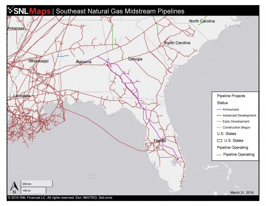 1448×1123 Map Of Southeast Mid-Stream Natural Gas Pipelines, In - Natural Gas Availability Map Florida