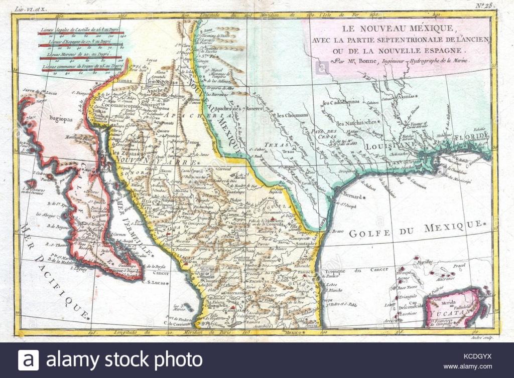 1780, Bonne Map Of Texas, Louisiana And New Mexico, Rigobert Bonne - Texas Louisiana Map