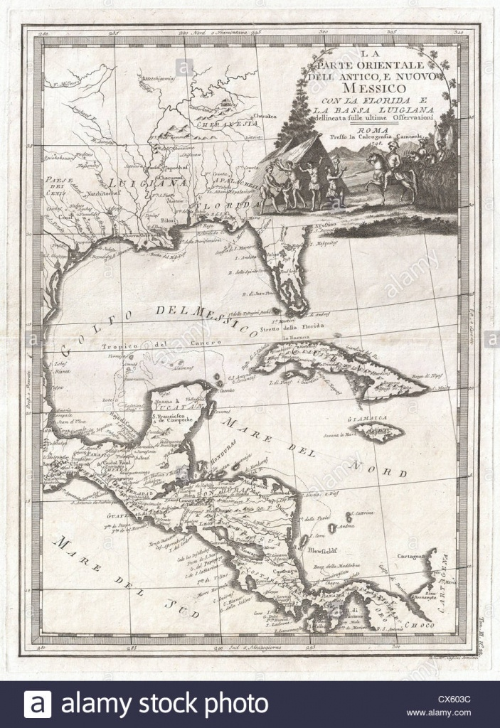 1798 Cassini Map Of Florida, Louisiana, Cuba, And Central America - Florida Louisiana Map