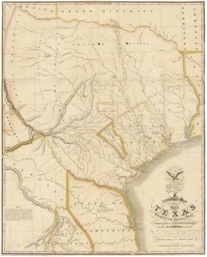 """1830 First Edition Of The Austin Map Of Texas: """"The Map Of Texas I - Old Texas Maps Prints"""