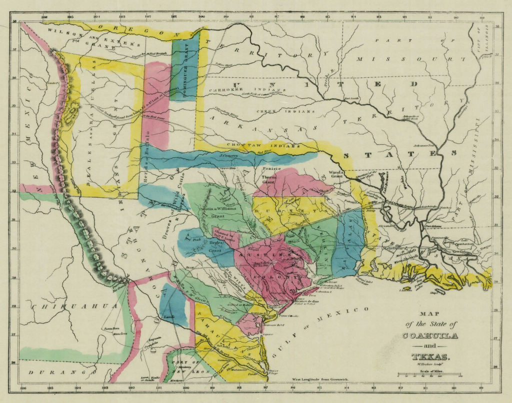 1833 Map Of Coahuila And Texas | Ancestry | Map, Texas, Republic Of - Texas Tree Map