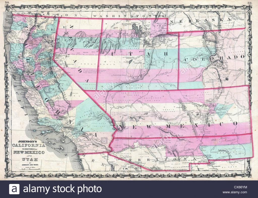 1862 Johnson Map Of California, Nevada, Utah, Colorado, New Mexico - California Nevada Arizona Map