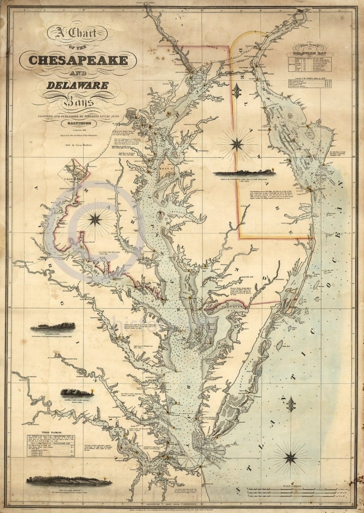1862 Nautical Chart Map Chesapeake Delaware Bay Vintage Historical - Printable Map Of Chesapeake Bay
