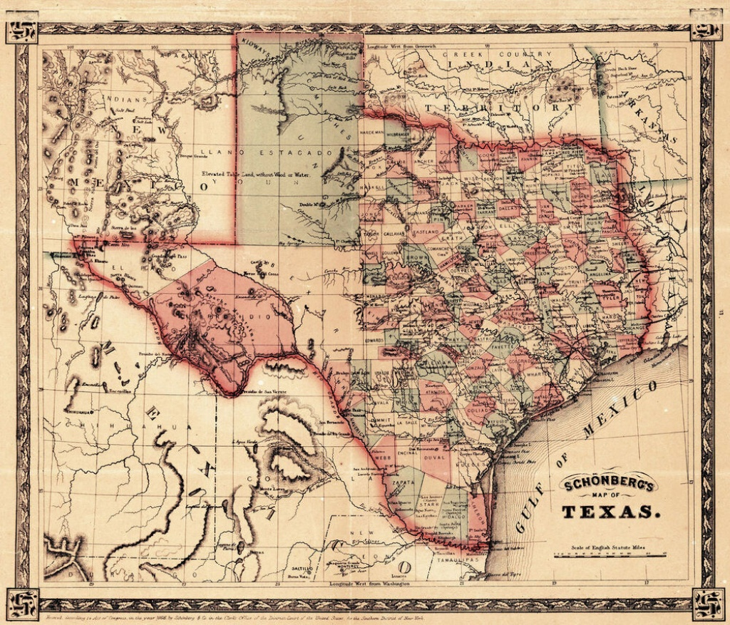 1866 Schönberg's Map Of Texas Schonberg Historic State Map Texan - Texas Map Wall Art