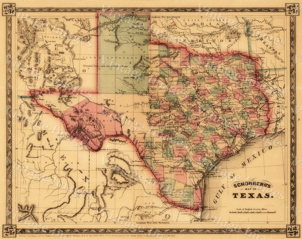1866 Texas Map Old West Map Antique Texas Map Restoration - Antique Texas Maps For Sale