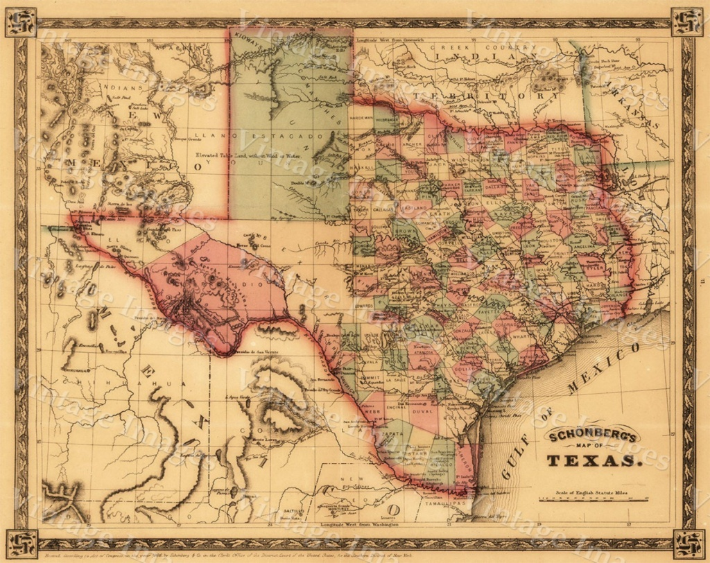 1866 Texas Map Old West Map Antique Texas Map Restoration   Etsy - Old Texas Map
