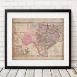 1866 Texas Map Print, Vintage Map Art, Antique Map, Wall Art, Map Of   Old Texas Map Wall Art