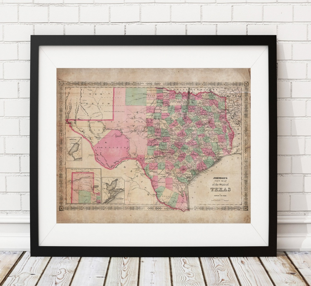 1866 Texas Map Print, Vintage Map Art, Antique Map, Wall Art, Map Of - Old Texas Map Wall Art