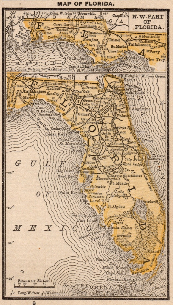 1888 Antique Florida Map Vintage Miniature Map Of Florida Gallery - Antique Florida Map