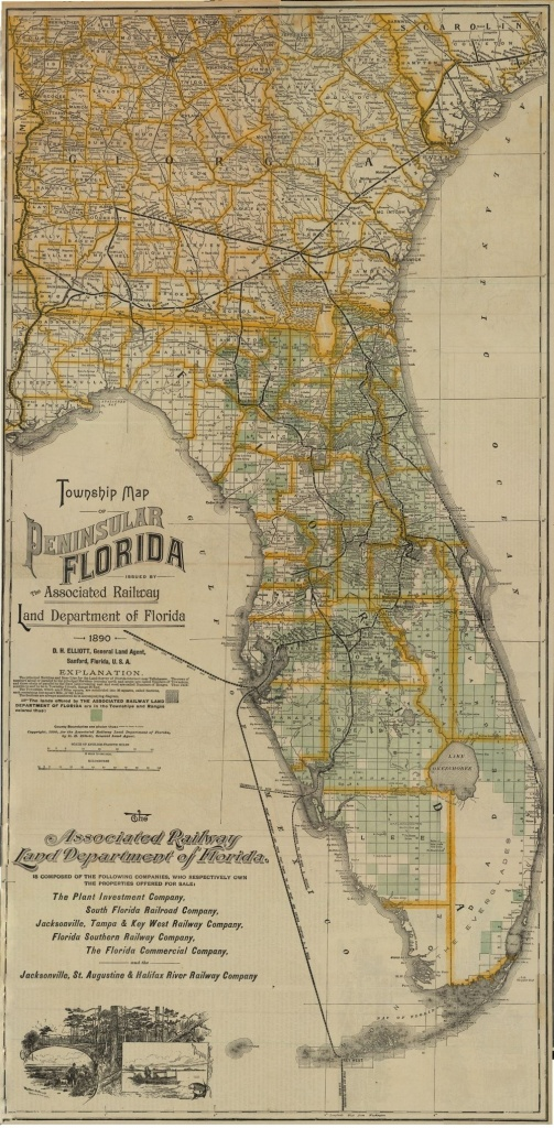 1890 - Florida Memory - Township Map Of Florida, 1890 | Georgetown - Old Florida Maps For Sale