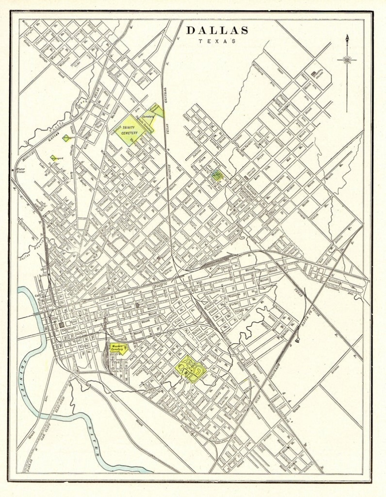 1901 Antique Dallas Texas City Map Reproduction Print Map Of | Etsy - Antique Texas Map Reproductions