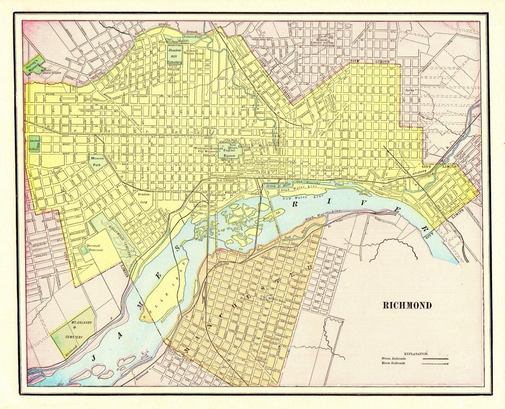 1901 Antique Richmond City Map Reproduction Print Of Richmond - Printable Map Of Richmond Va