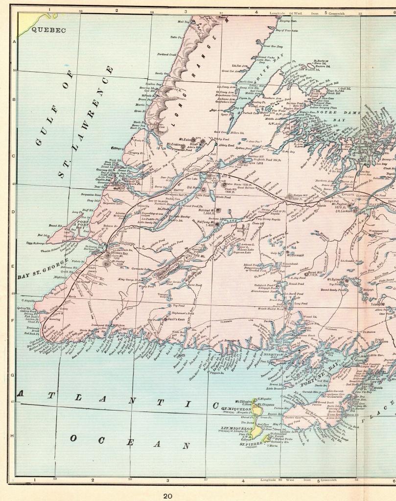 1902 Antique Newfoundland Map Of Newfoundland Canada Print Vintage - Printable Map Of Newfoundland