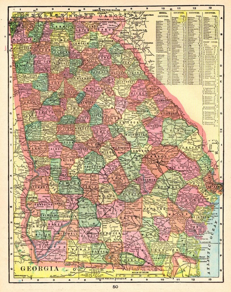 1903 Antique Georgia Map Of Georgia State Map Print Gallery | Etsy - Georgia State Map Printable