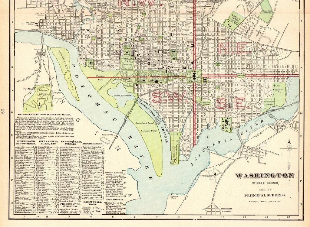 1906 Antique Washington Dc Map Vintage City Map Of Washington Dc - Washington Dc City Map Printable