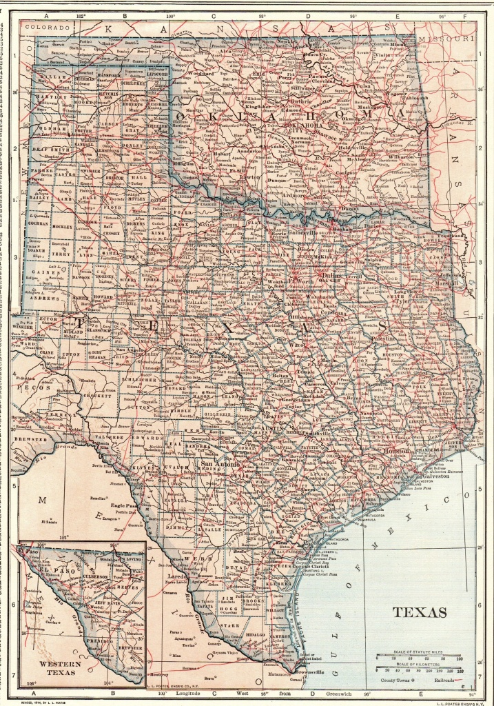 1914 Antique Texas Map Oklahoma Map State Map Of Oklahoma | Etsy - Antique Texas Map Reproductions