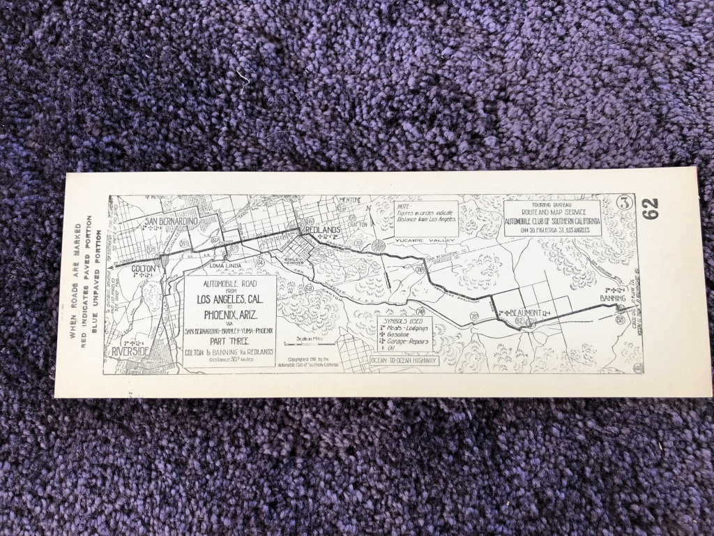 1916 Southern California Aaa Strip Map Los Angeles Cal To | Etsy - Aaa California Map