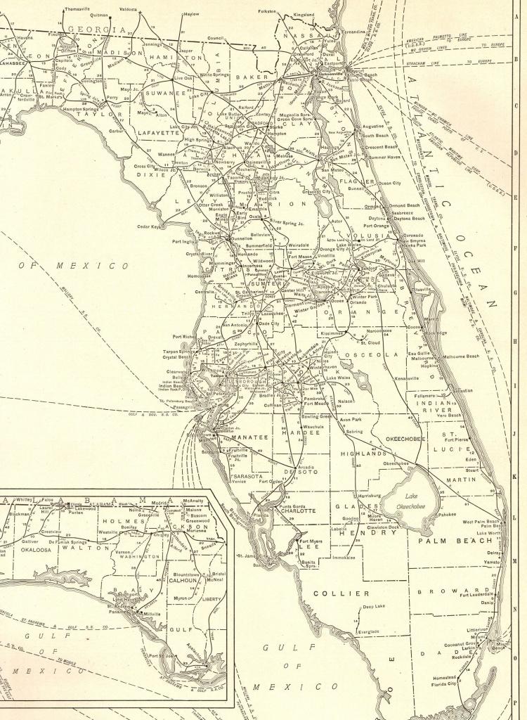 1927 Rare Size Antique Florida Map Vintage Map Of Florida Poster - Vintage Florida Map Poster