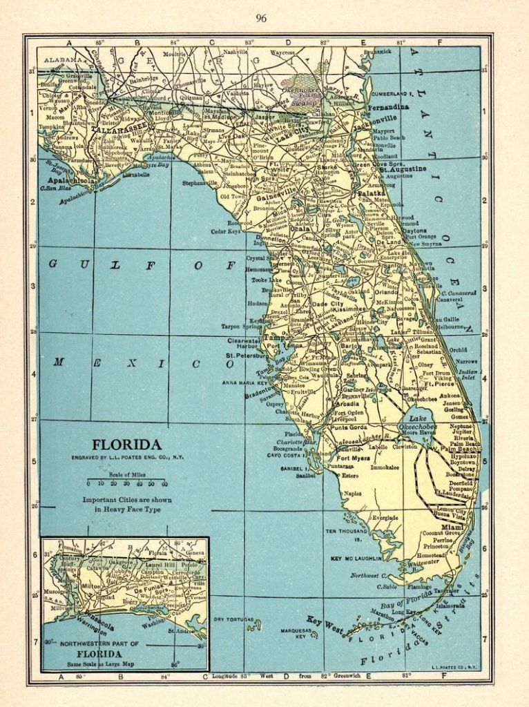 1931 Antique Florida Map Vintage State Map Of Florida Gallery | Etsy - Antique Florida Map