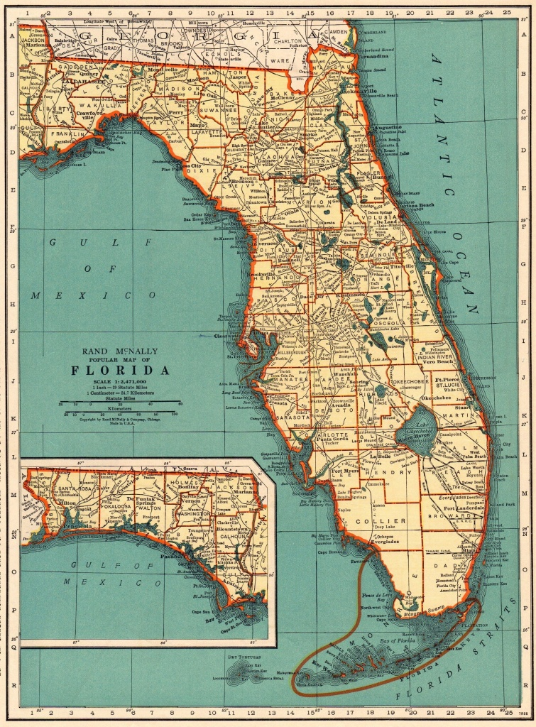 1937 Antique Florida Map Vintage State Map Of Florida Gallery Wall - Florida Map Wall Art