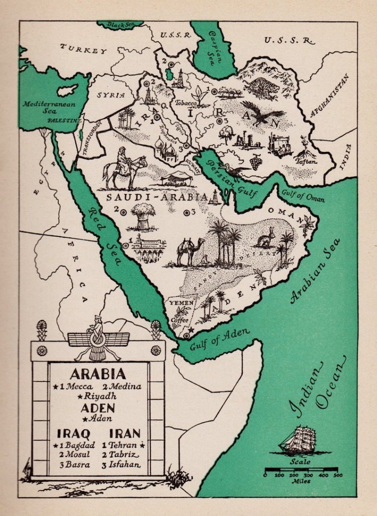 1940's Arabia Picture Map Of Saudi Arabia Print Map Of | Etsy - Printable Map Of Saudi Arabia