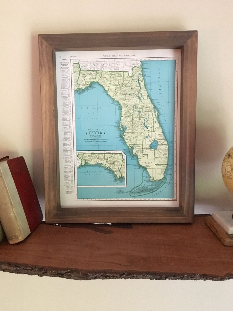1943 Florida Original Framed Map // Vintage Framed Map Of Florida - Framed Map Of Florida