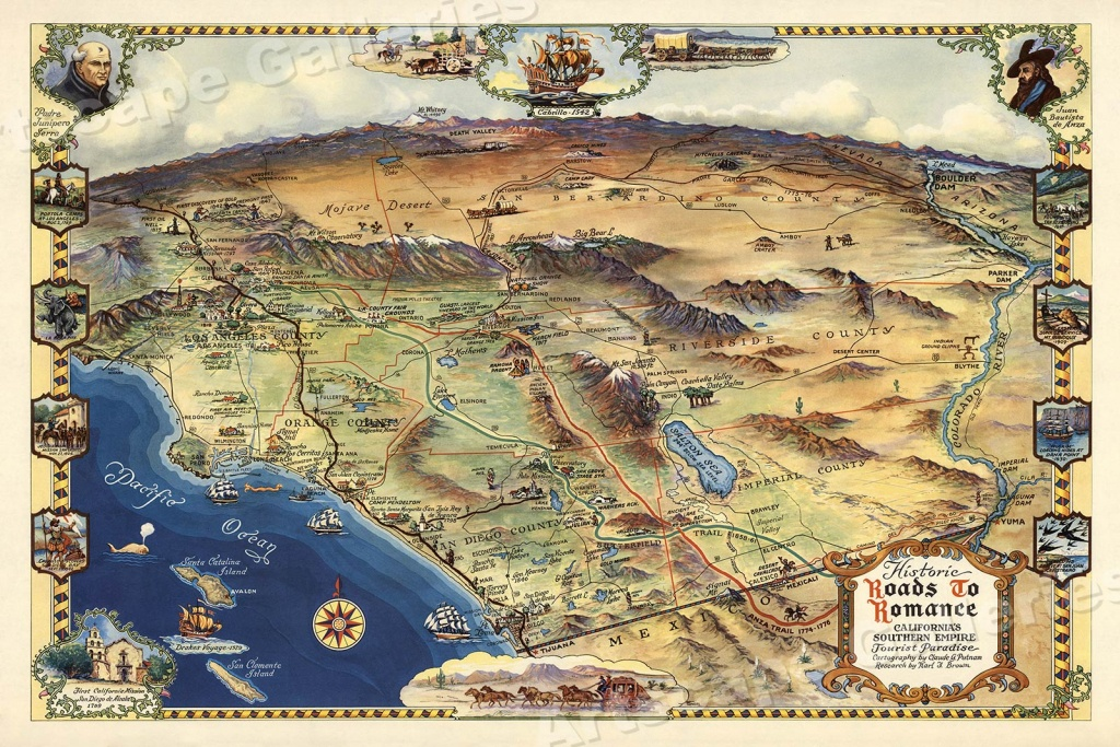 1946 Roads To Romance Southern California Old Map - 20X30 | Ebay - Old Maps Of Southern California