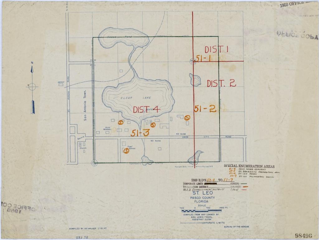 1950 Census Enumeration District Maps - Florida (Fl) - Pasco County - St Leo Florida Map