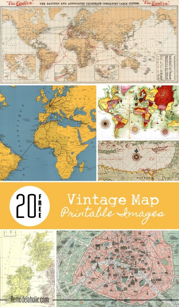 20 Free Vintage Map Printable Images | Remodelaholic #art - Create Printable Map With Pins