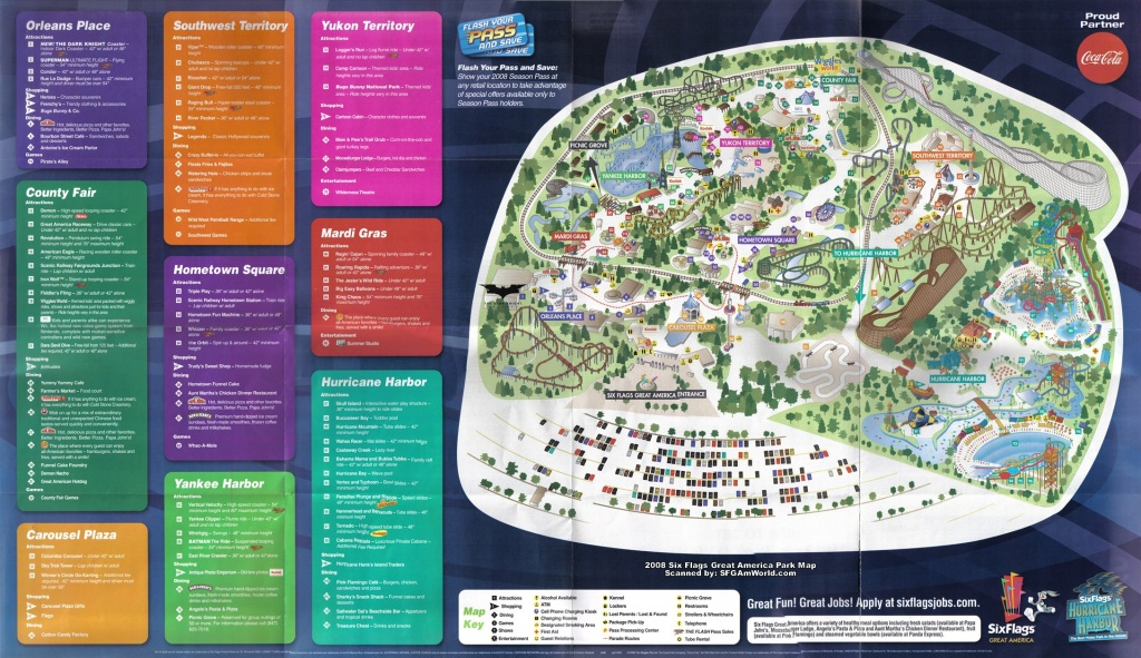 2008Parkmap Six Flags Great America Map 5 - World Wide Maps - Six Flags Great America Printable Park Map