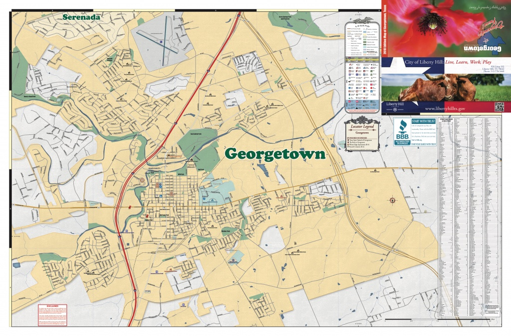 2018 Edition Map Of Georgetown, Tx - Georgetown Texas Map