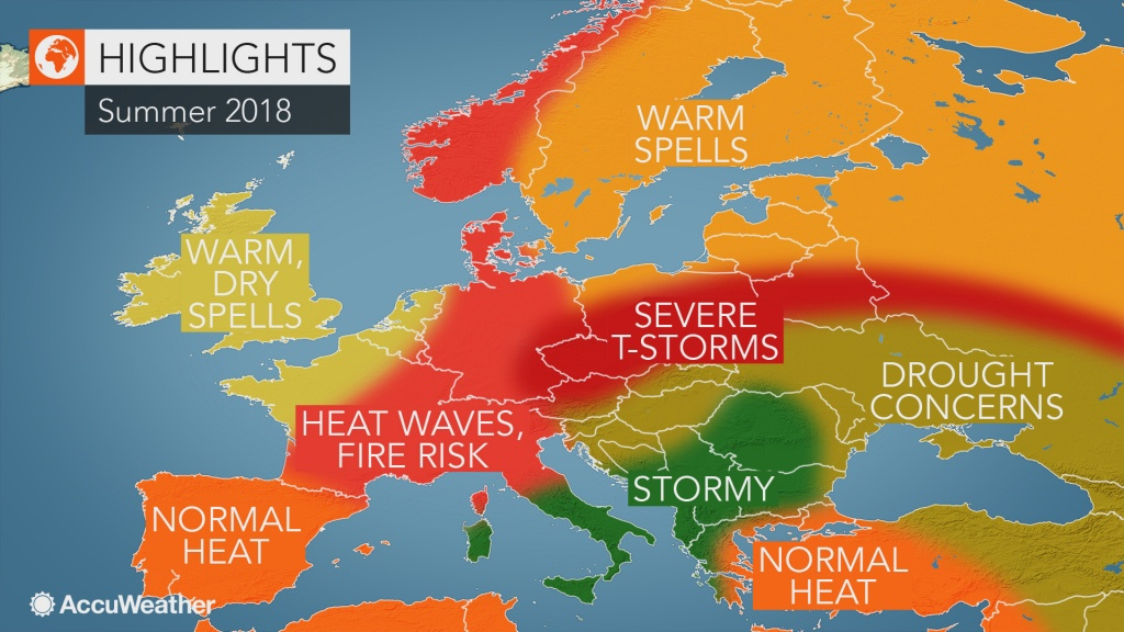 2018 Europe Summer Forecast: Intense Heat To Seize France To Germany - Heat Map Southern California