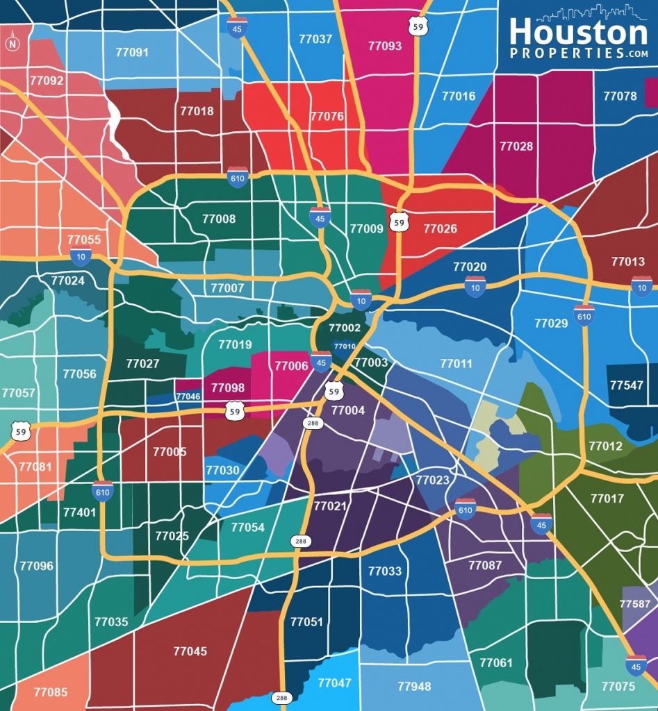 2019 Update: Houston Texas Zip Code Map | Houstonproperties - Show Map Of Houston Texas