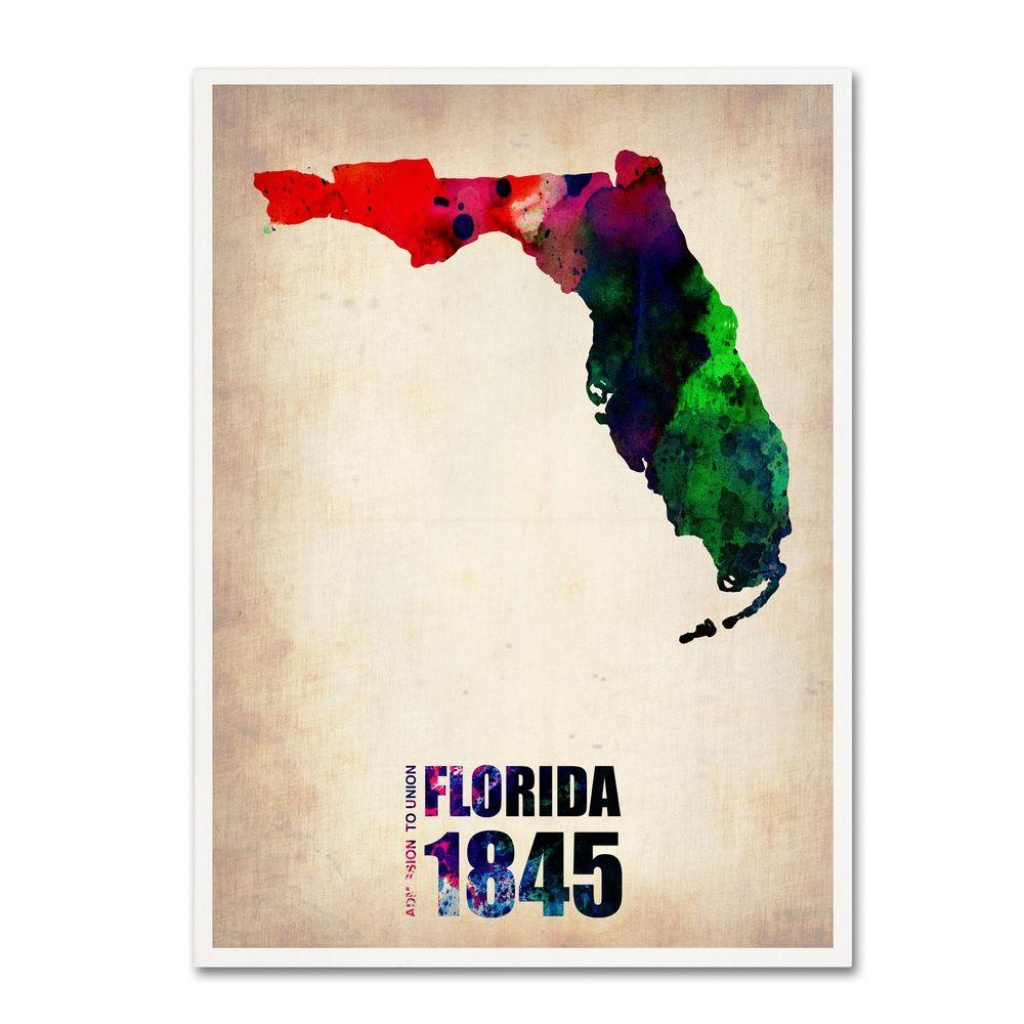 24 In. X 18 In. Florida Watercolor Map Canvas Art - Florida Map Artwork