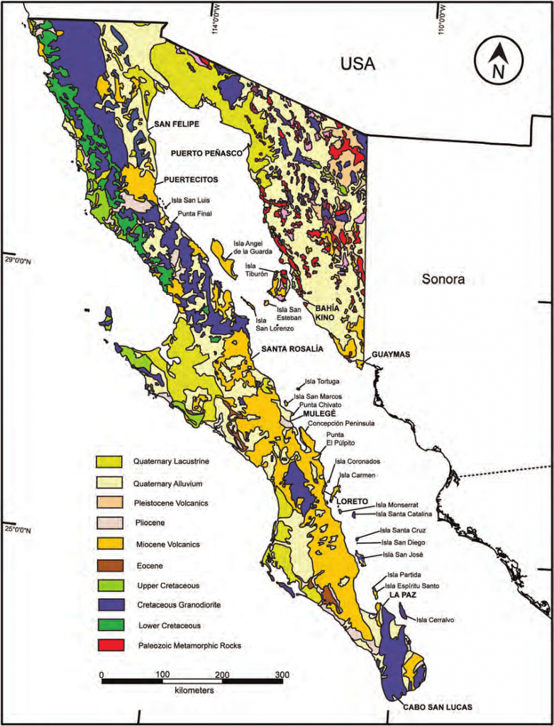 3. Geological Map Of The Baja California Peninsula And Adjacent - Baja California Norte Map
