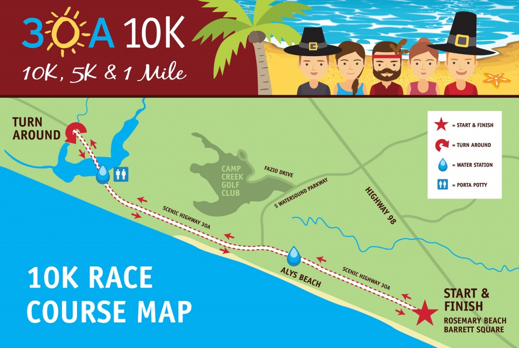30A 10K And Fun Run | 30A 10K, 5K And Fun Run Event Maps - Watersound Florida Map