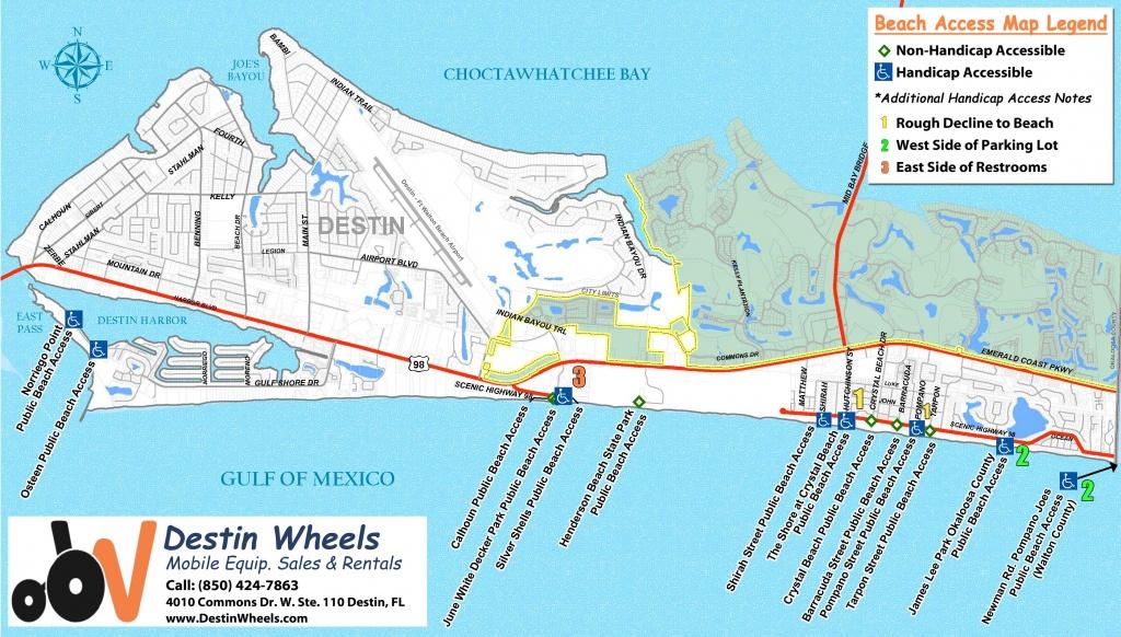 30A & Destin Beach Access - Destin Wheels Rentals In Destin, Fl - Sandestin Florida Map