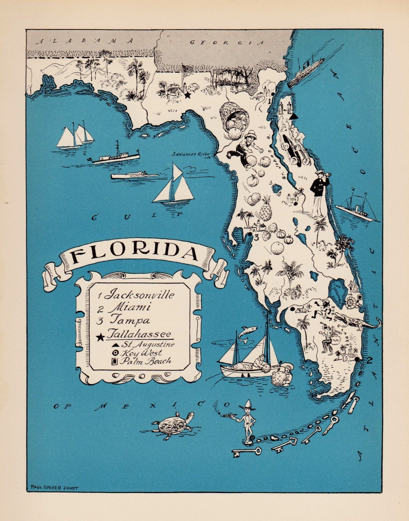 30's Vintage Animated Florida State Map Of Florida Cartoon Map Print - Florida Cartoon Map