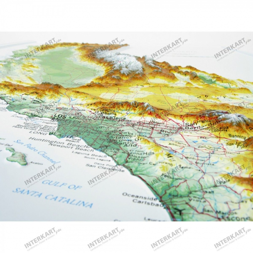 3D Relief Map California - Wall Maps - California Relief Map