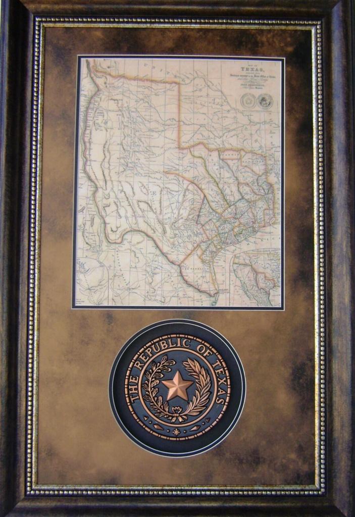 3D113 Republic Of Texas Seal W/ Republic Of Tx Map Western Art - Republic Of Texas Map Framed