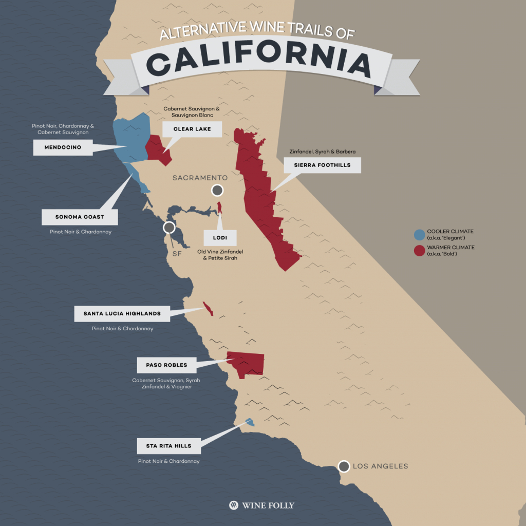 8 Alternative Wine Trails Of California | Wine Folly - California Wine Country Map