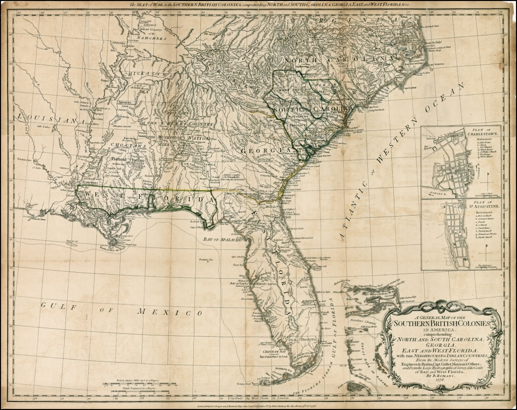 A General Map Of The Southern British Colonies In America - Old Florida Maps For Sale