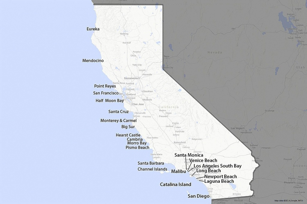 A Guide To California's Coast - California Beach Cities Map