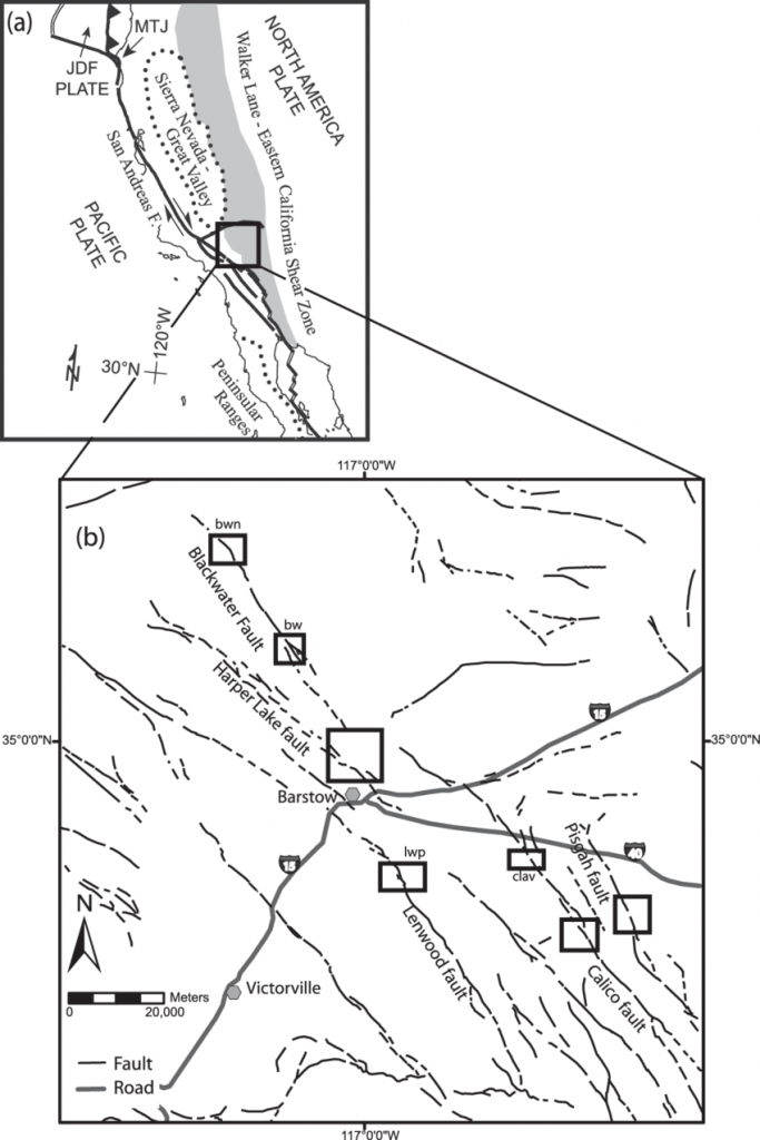 A) Index Map Of The Eastern California Shear Zone (Ecsz) [From Oskin - B Zone California Map
