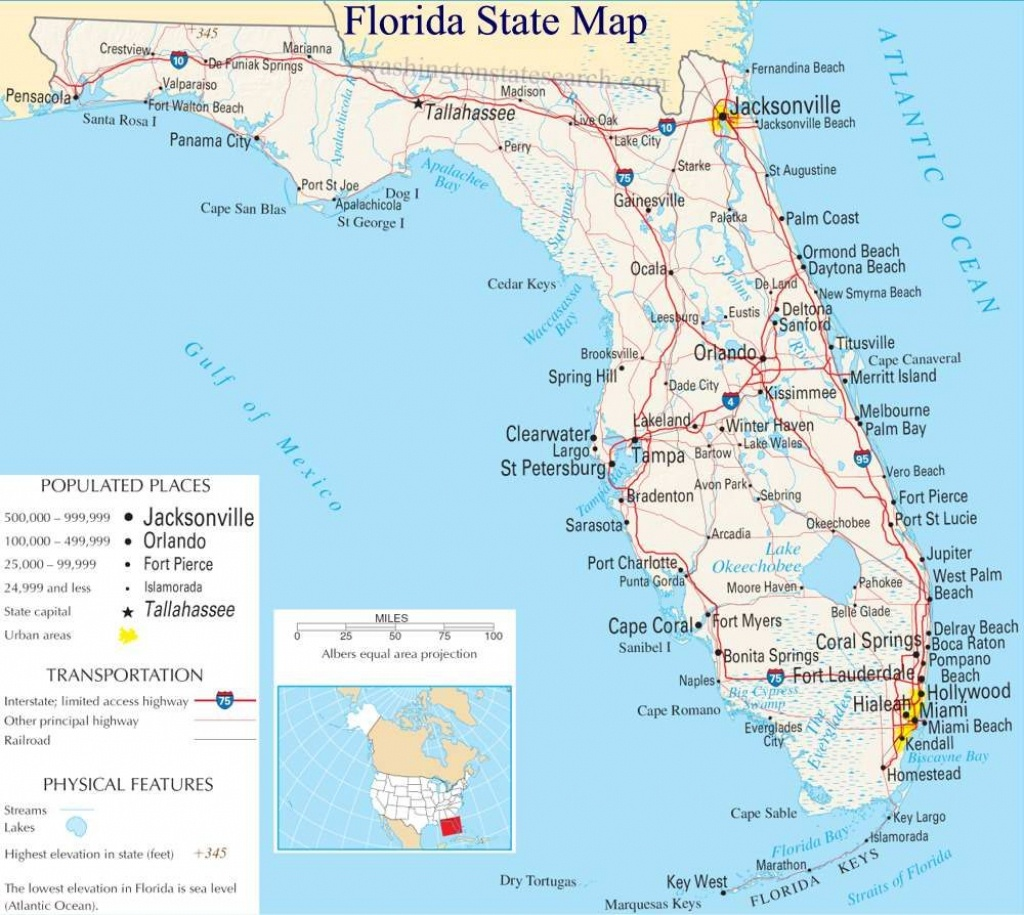 A Large Detailed Map Of Florida State | For The Classroom In 2019 - State Of Florida Map Mileage