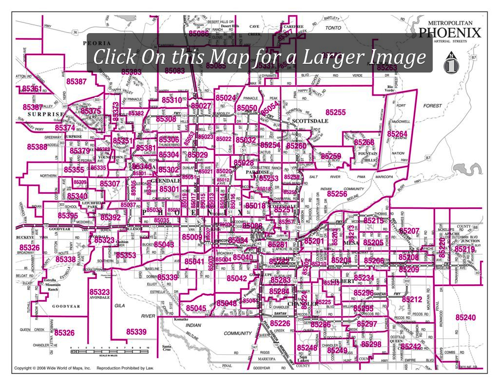 A Large Map Of Phoenix Area Zipcodes. This Is A Great Quick Visual - Phoenix Area Map Printable