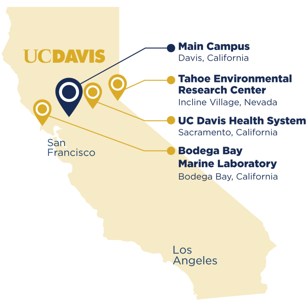 A Map Of California Featuring 4 Of Uc Davis's Locations, Including - Davis California Map