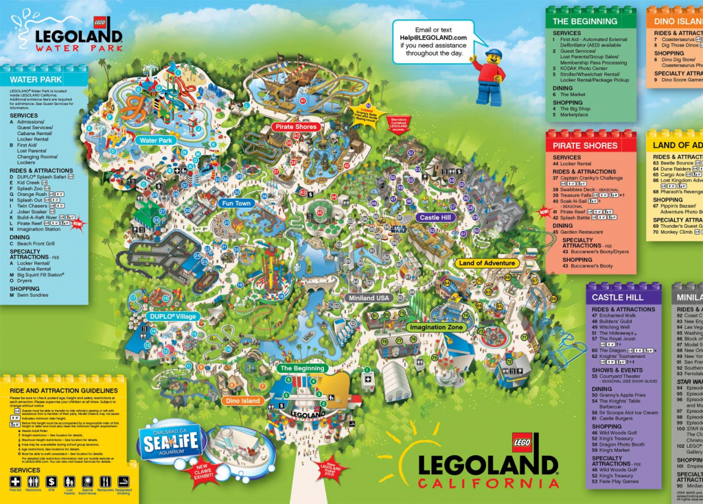 A Map Of Legoland California | Legoland California Resort; Carlsbad - Legoland California Water Park Map